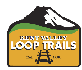Kent Valley Loop Trails logo stylized mountain and RR tracks logo
