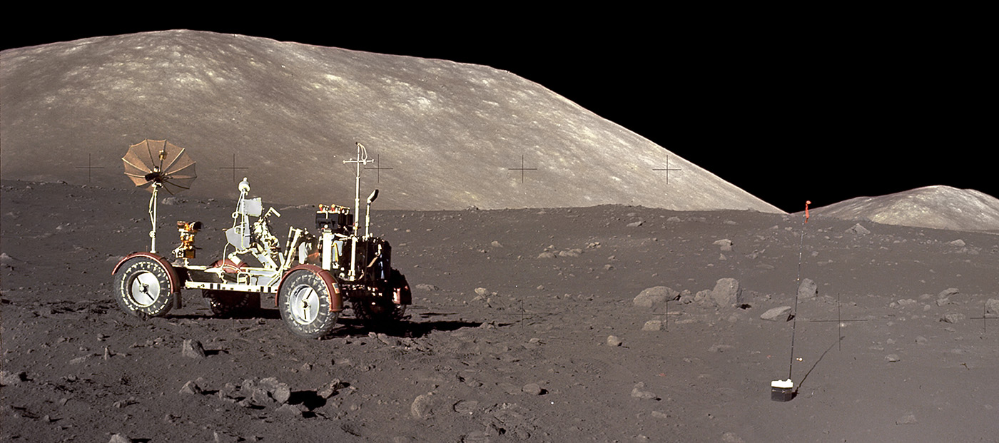 Lunar rover on moon's surface