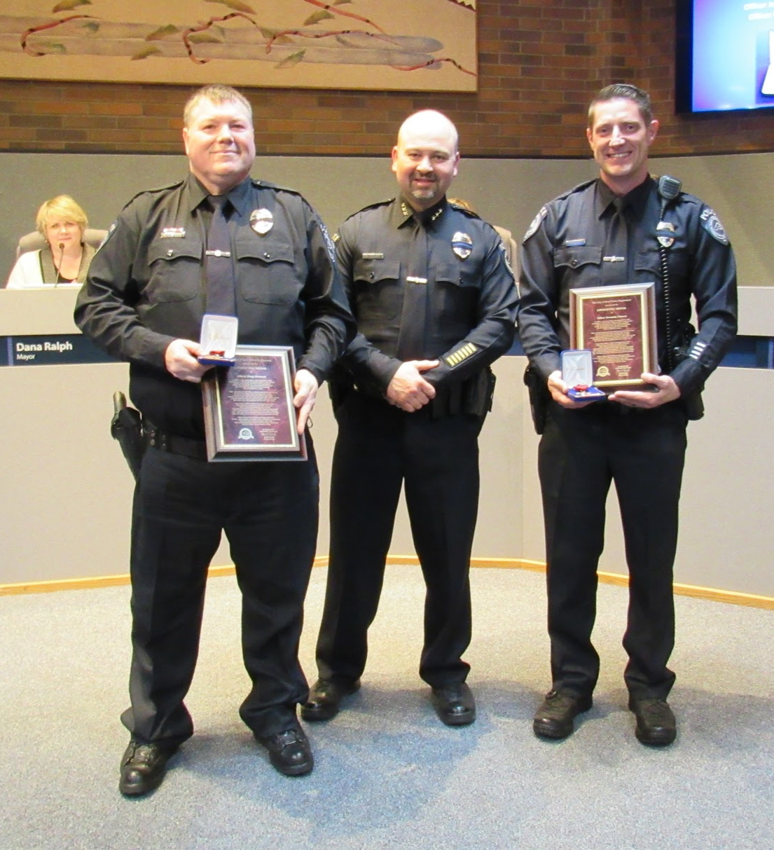 Officers Westcott and Johnson received lifesaving awards at the April 16, 2019 Kent City Council meeting.