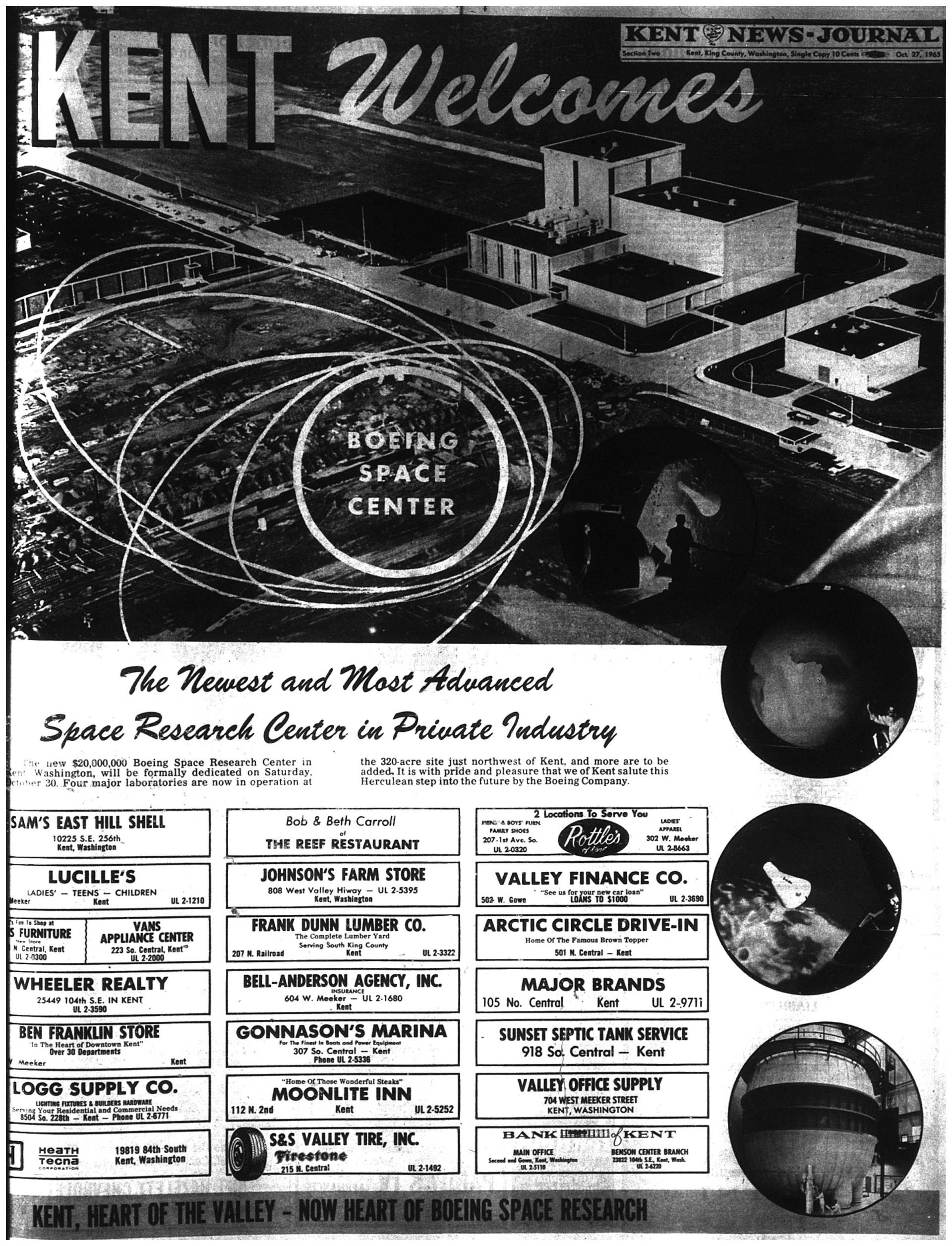 Newspaper article about the opening of Kent's Space Research Center