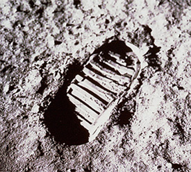 First Human Footprint on the Moon