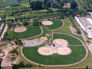 Hogan Park at Russell Road five ballfields aerial view