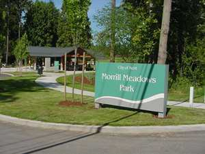 Morrill Meadows Park entry and picnic shelter