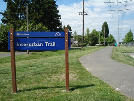 Interurban Trail sign at Uplands